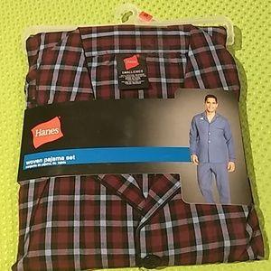 Hanes Woven Pajama Set Men's Long sleeve